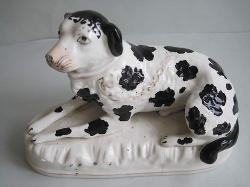 UNUSUAL LARGE 19THC STAFFORDSHIRE DISRAELLI DOG