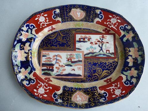 "Late 19thc. Masons/Ashworth Double Landscape Meat Plate 11"" Ref # 4506"