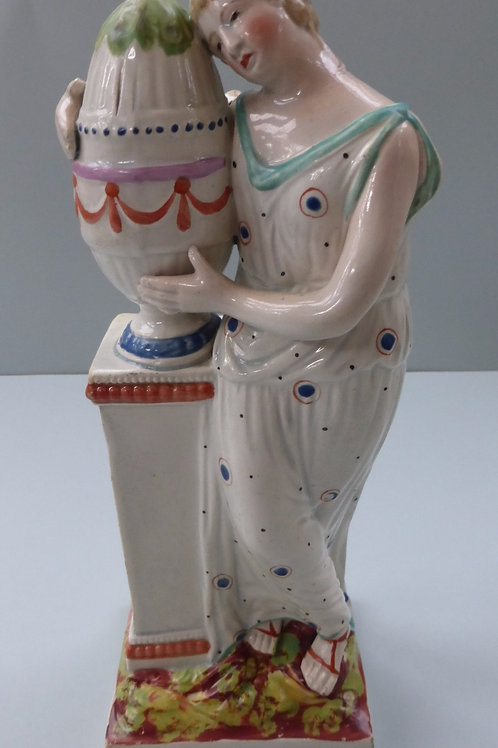 19THC. STAFFORDSHIRE PEARLWARE SQUARE BASED FIGURE