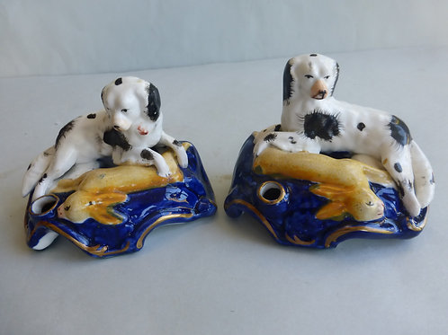 Pair 19thc.Quill Holders of Harehouds with Rabbits Ref # 4583