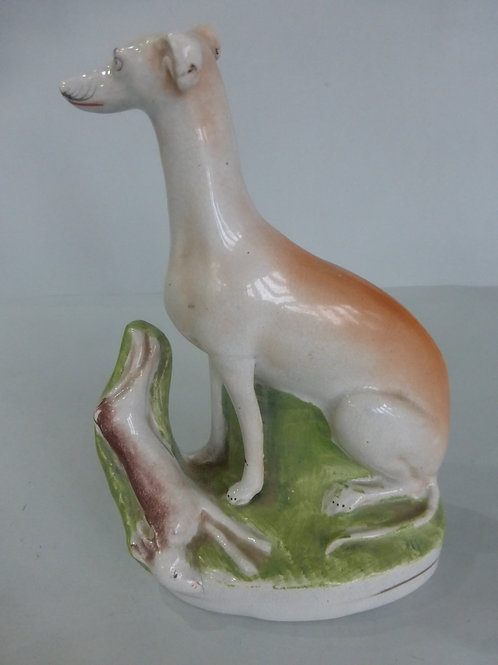 Single seated 19thc. Greyhound with Hare. c.1860 # £110