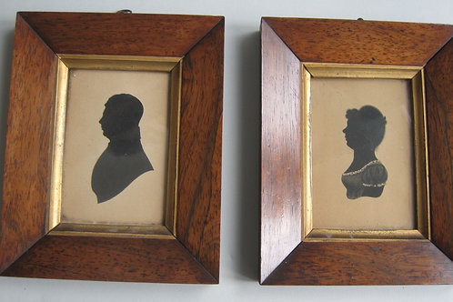 ENGLISH SCHOOL - PAIR LATE 18THC SILHOUETTES OF MAN AND WOMAN IN REGENCY COSTUME