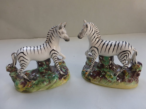 Pair 19thc. Staffordshire Zebras in Standing Pose., Ref. # 4311
