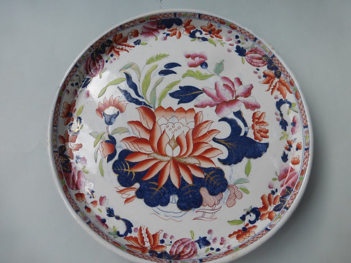 19THC. MASONS STYLE CHEESE STAND WATER LILLY PATTERN