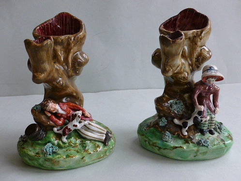 19THC STAFFORDSHIRE PEARLWARE SPILL VASES BY WALTON
