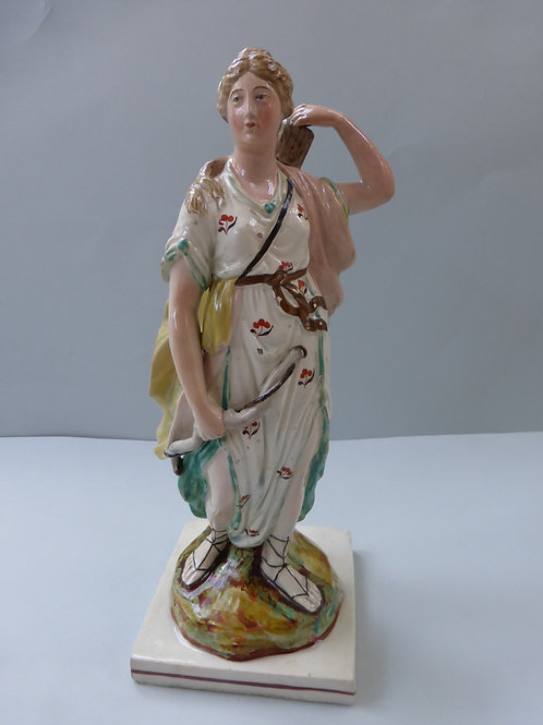 19THC. STAFFORDSHIRE PEARLWARE FIGURE OF DIANA