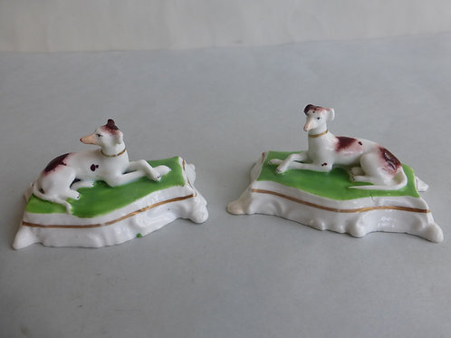 Super Pair 19thc. Porcellanous Staffordshire Greyhounds Ref # 4335 -