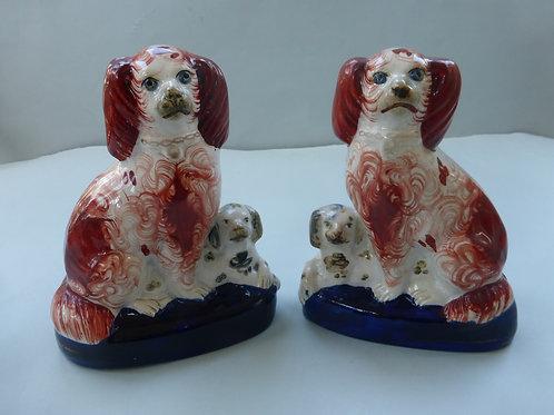 Pair 19thc. Staffordshire Spaniel & Puppy Groups Ref #3978