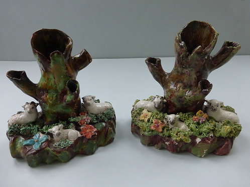 Pair early 19th century Staffordshire Sheep Spills Ref. 3714