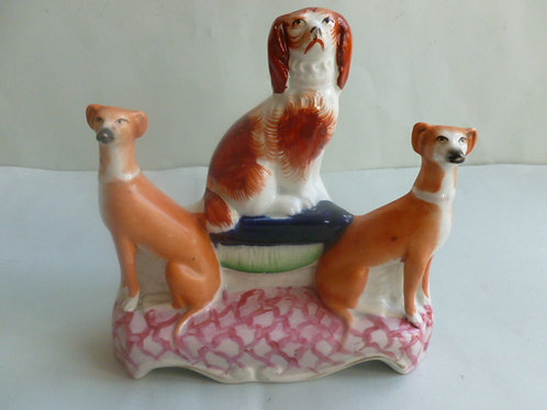 RARE 19THC STAFFORDSHIRE DOG GROUP OF 2 GREYHOUNDS AND SPANIEL
