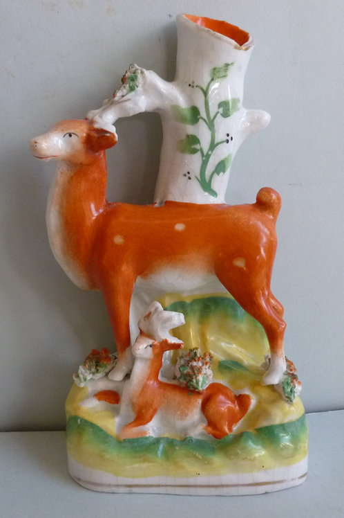 19THC. STAFFORDSHIRE SPILL VASE OF STAG