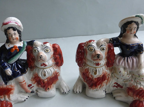 19THC. STAFFORDSHIRE ROYALTY FIGURE ON DOGS # 3161