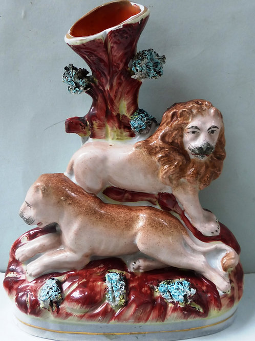 RARE 19THC STAFFORDSHIRE SPILL OF LION AND LIONESS