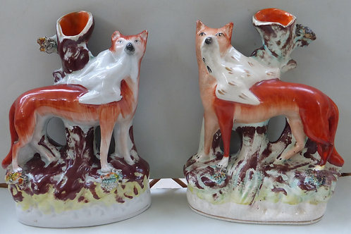 MATCH PAIR 19THC. STAFFORDSHIRE FOX & GOOSE SPILLS