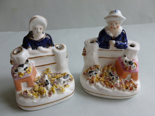 PAIR 19THC. STAFFORDSHIRE QUILL HOLDERS OF RABBITS
