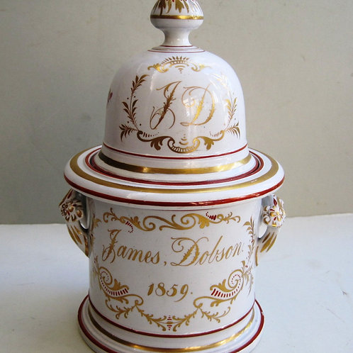 UNUSUAL DATED TOBACCO JAR FOR JAMES DOBSON DATED 1859