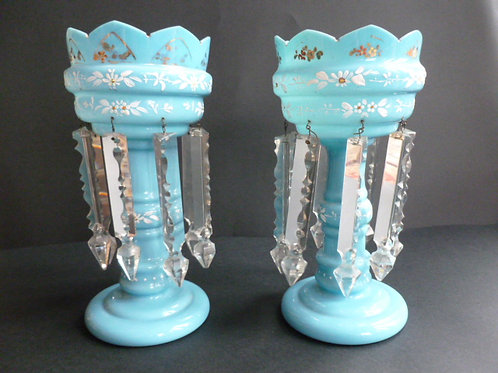 PAIR 19THC GLASS TABLE LUSTRES IN TURQUOISE BLUE GLASS