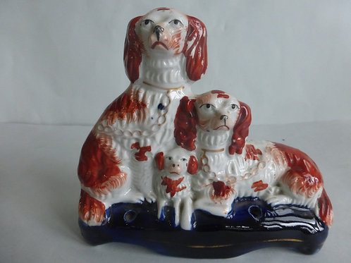 19thc. Staffordshire Quill Holder of Spaniels & Puppy c.1850 Ref # 4430