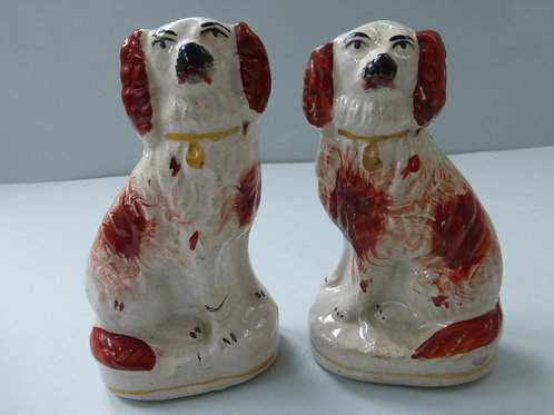 PAIR SMALL 19THC. STAFFORDSHIRE RED AND WHITE SPANIELS