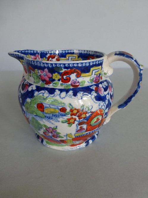 19thc.STAFFORDSHIRE OPAQUE CHINA JUG BAGGERLY & BALL C.1840