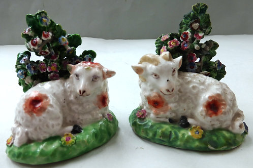 PAIR EARLY 19THC STAFFORDSHIRE DERBY RAM AND EWE