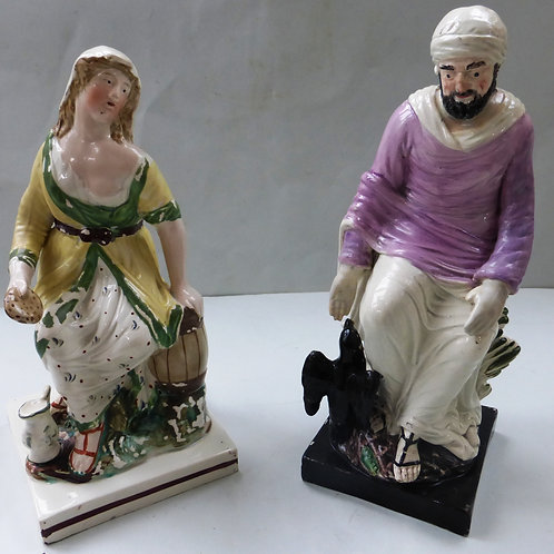 19THC. STAFFORDSHIRE RELIGIOUS SQUARE BASED FIGURE