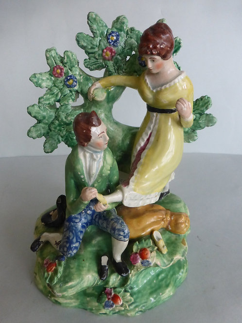19thc. Pearlware Staffordshire Group of Shoemaker & Lady c.1810