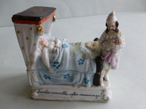 19thc. Continental Fairing Pin Box  TWELVE MONTHS AFTER MARRIAGE