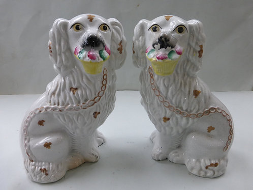 PAIR 19THC. STAFFORDSHIRE DOGS WITH BASKET FLOWERS Ref. 3716