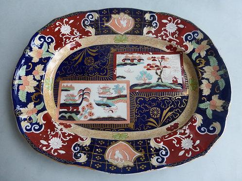 Large late 19thc. Masons/Ashworth Double Landscape Meat Platter Ref # 4504