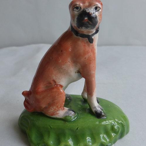 19THC STAFFORDSHIRE PEARLWARE PUG DOG