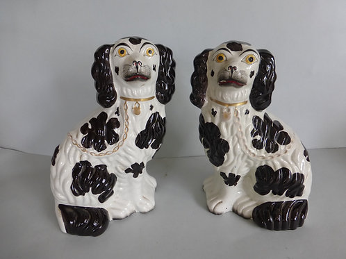 PAIR 19THC. STAFFORDSHIRE MANTLE DOGS C.1850