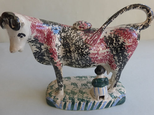 EARLY 19THC STAFFORDSHIRE PEARLWARE COW CREAMER