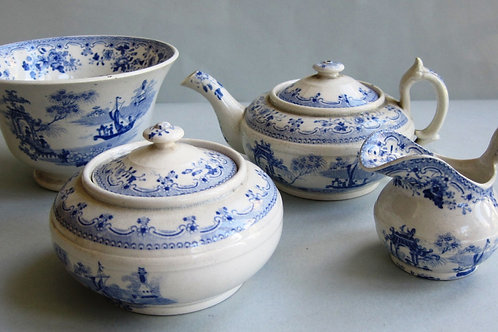EARLY 19THC STAFFORDSHIRE BLUE AND WHITE NURSERY WARE