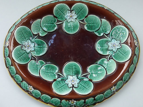 19THC MAJOLICA OVAL BREAD DISH WELL COLOURED C.1870 WATER LILLY PATTERN