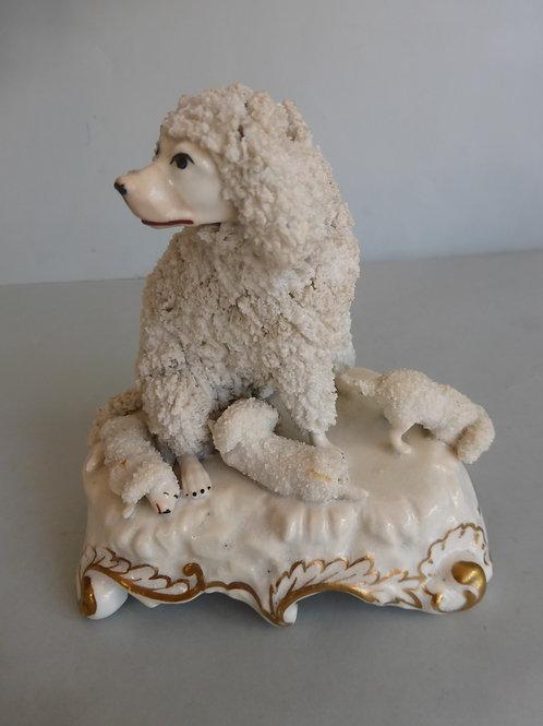 19thc. Staffordshire Porcellanous Poodle Possiblyt Dudson Ref. # 4192