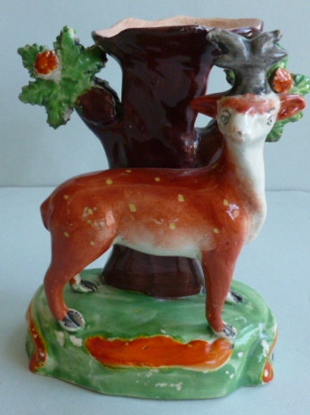 19THC. STAFFORDSHIRE PEARLWARE SPILL VASE OF STAG