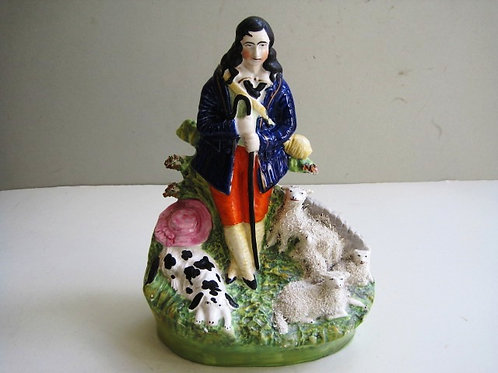 19THC STAFFORDSHIRE OF SHEPHERD WITH DOG