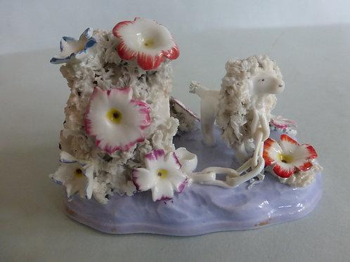 19thc. Porcellanous Staffordshire Toy Poodle on Lavender Base Ref # 4249