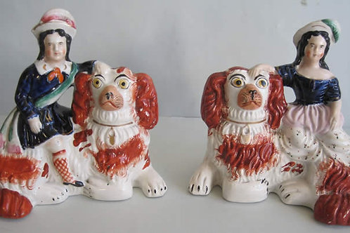 SUPER PAIR 19THC. STAFFORDSHIRE OF ROYAL CHILDREN SEATED ON SPANIELS