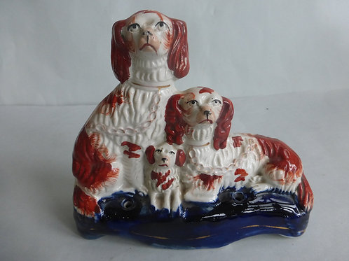 19thc. Staffordshire Quill Holder of Spaniels & Puppy c.1850 Ref # 4431