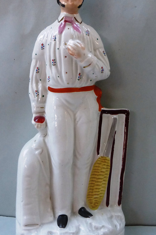 RARE 19THC STAFFORDSHIRE CRICKETING FIGURE OF AN UNIDENTIFIED BOWLER