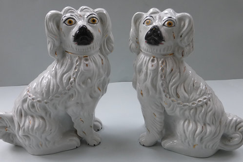 pair 19thc. STAFFORDSHIRE WHITE MANTLE DOGS WITH SEPARATE LEGS C.1860