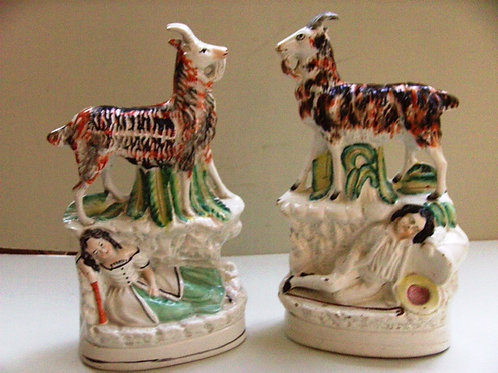 PAIR 19THC. STAFFORDSHIRE OF CHILDREN WITH GOATS