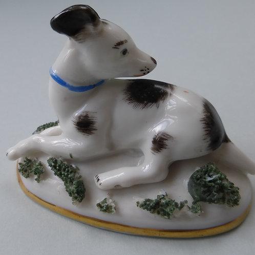 19THC. PORCELAIN BLACK AND WHITE DOG # 3443