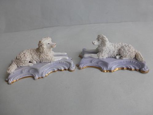 Superb Pair 19thc. Staffordshire Porcellanous Poodles on Lilac base. Ref # 4432