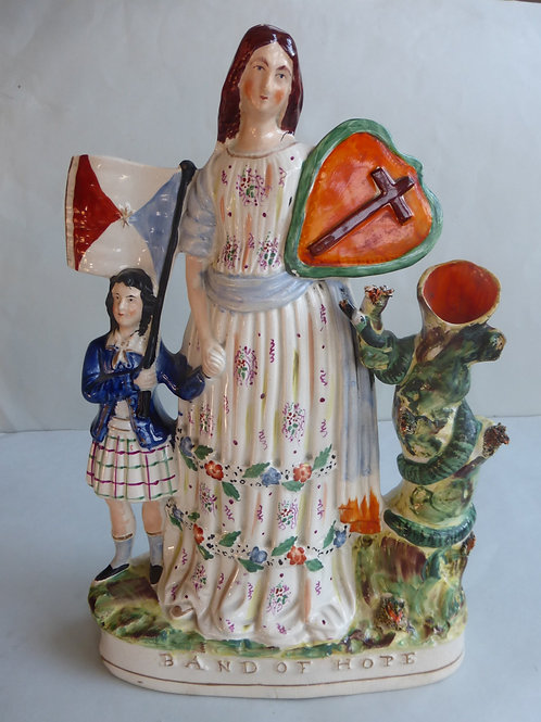 19thc. Staffordshire titled BAND OF HOPE c.1850 - Ref # 4354