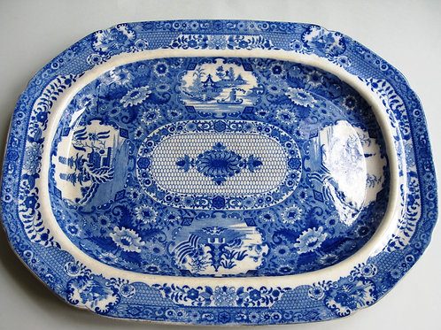 LARGE 19THC SPODE PEARLWARE BLUE AND WHITE PLATTER