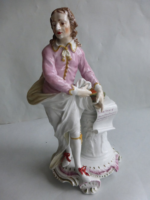 19THC. Derby Figure of Milton modelled by a Pedestal