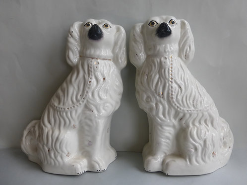 LARGE PAIR 19THC. STAFFORDSHIRE MANTLE DOGS C.1860 Ref # 4375